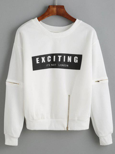 Lettre Applique Zipper design Sweatshirt - Blanc ONE SIZE