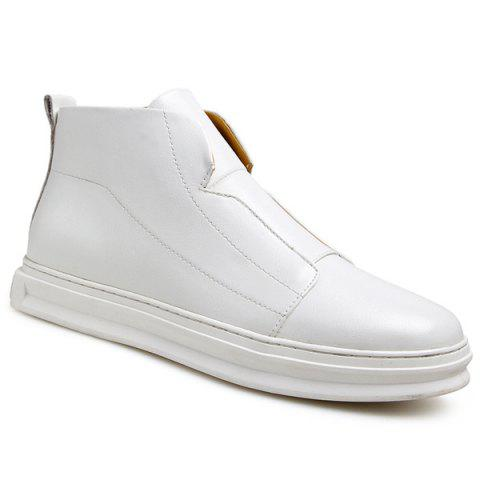 Stitching PU Leather Zipper Casual Shoes - WHITE 43