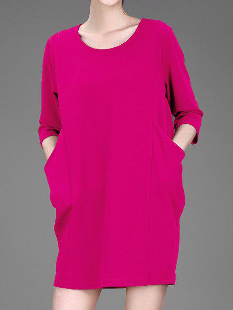 3/4 poches manches jumelles Robe chasuble - Rouge Rose 3XL