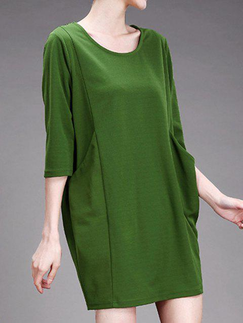 3/4 Sleeves Twin Pockets Shift Dress - GRASS GREEN 5XL