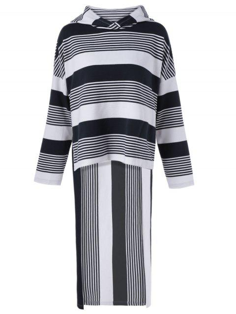 High-Low Striped Hoodie - WHITE/BLACK S