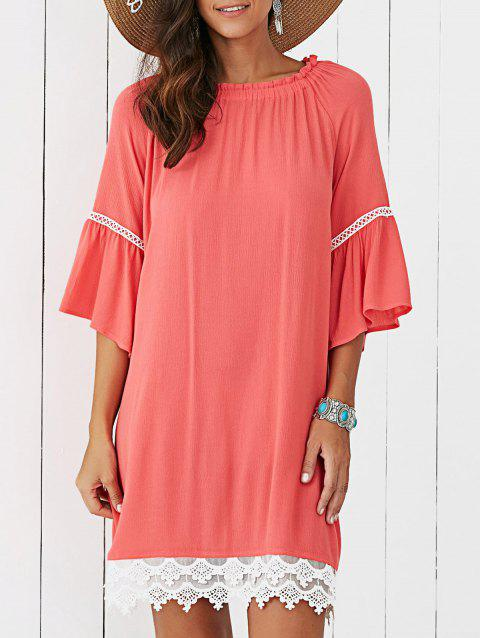 Lace Splicing Flare Sleeve Dress - JACINTH S