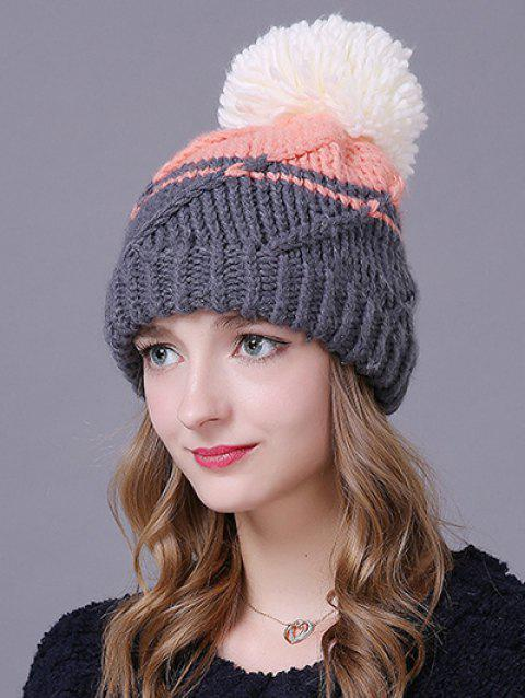 Chaud Big Boule Stripy Braid Beanie tricoté - Rose