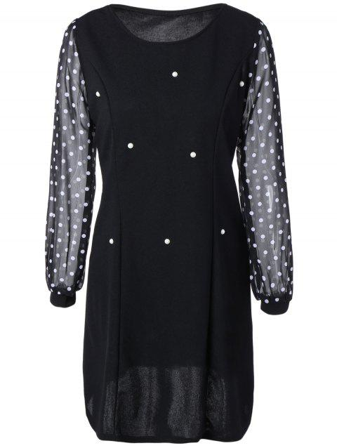 Polka Dot Spliced ​​Minceur Robe - Noir 2XL
