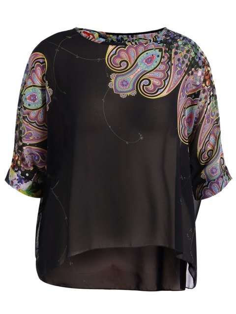 Plus Size Colorful Print Chiffon T-Shirt - BROWN XL