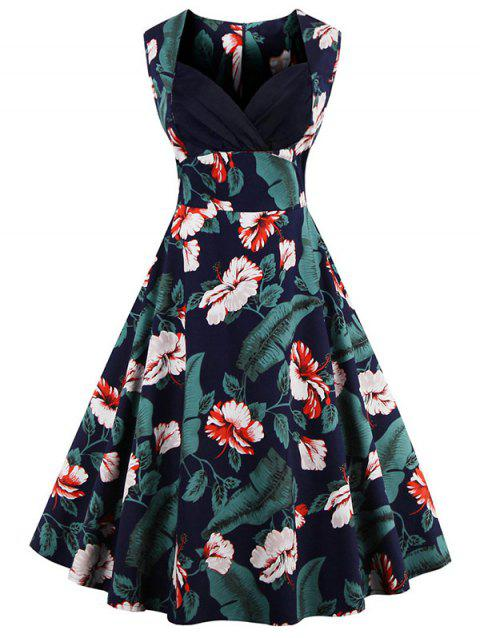 Floral sweetheart robe Vintage Neck - multicolore S