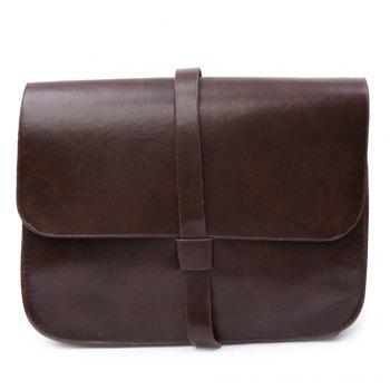 Stylish Belt and Solid Color Design Crossbody Bag For Women - COFFEE COFFEE