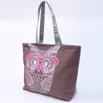 Casual Owl Pattern and Canvas Design Shoulder Bag For Women - PURPLE