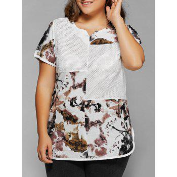 Buy Plus Size Ink Painting Print Spliced Asymmetrical T-Shirt WHITE