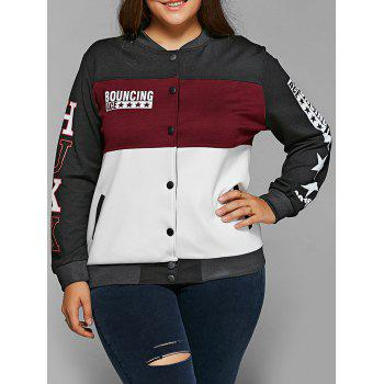Single-Breasted Color Block Jacket - WINE RED 4XL