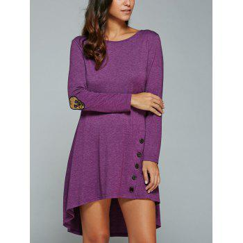 High-Low Knee Length Long Sleeves Dress