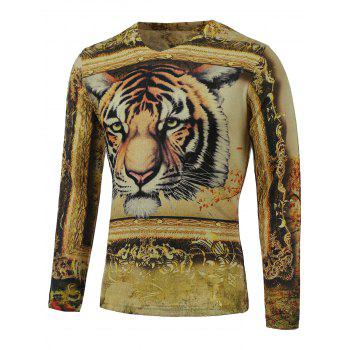 3D Tiger Print V-Neck Long Sleeve Sweater