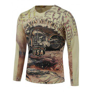 3D Motorcycle Print V-Neck Long Sleeve Sweater