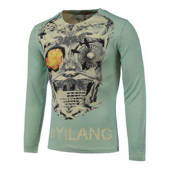 3D Skull Print V-Neck Long Sleeve Sweater