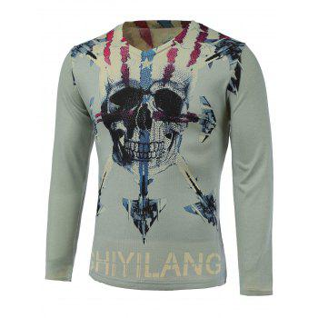 3D Skull and Warcraft Print V-Neck Long Sleeve Sweater