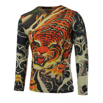 3D Tiger Printed V-Neck Long Sleeve Sweater