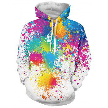 Buy Long Sleeve Paint Splatter Print Pullover Hoodie WHITE