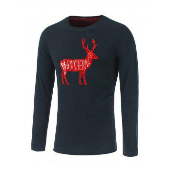Letter Elk Print Long Sleeve Round Neck T-Shirt