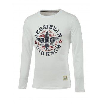 Letter and Wings Print Long Sleeve Round Neck T-Shirt