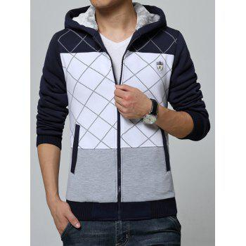 Color Spliced Zippered Ribbed Sherpa Hoodie