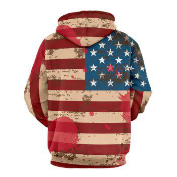 Distressed American Flag Pullover Drawstring Hoodie - RED 3XL