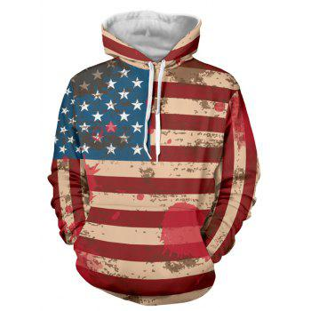 Drawstring Flag Pattern Long Sleeve Pullover Hoodie
