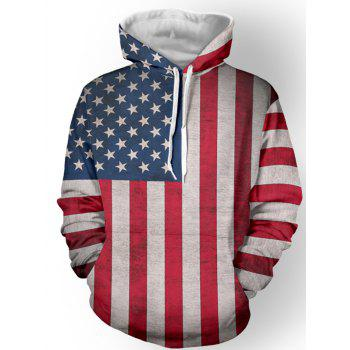 Long Sleeve Star Stripe Pattern Pullover Hoodie