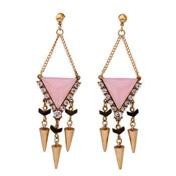 Artificial Gemstone Rivet Triangle Pendant Earrings