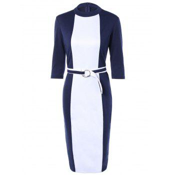 Zipper Up Sheath Dress With Belt - BLUE AND WHITE M