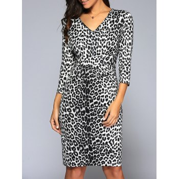 V Neck Leopard Knee Length Tight Dress
