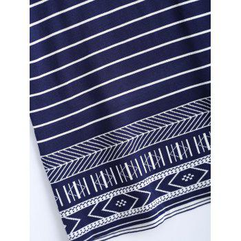 Tribal Pattern Striped T-Shirt Dress - ONE SIZE ONE SIZE