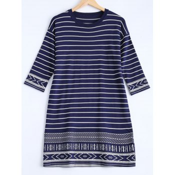 Tribal Pattern Striped T-Shirt Dress - PURPLISH BLUE ONE SIZE