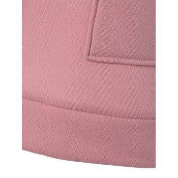 Zipper Up Double Pockets Hoodie - LIGHT PINK M