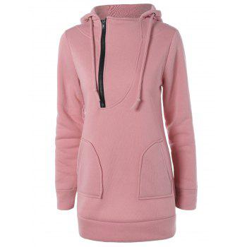 Zipper Up Double Pockets Hoodie