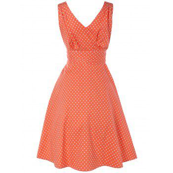 Bowknot Polka Dot Swing Fit and Flare Dress - ORANGEPINK S