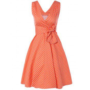 Bowknot Polka Dot Swing Fit and Flare Dress - ORANGEPINK ORANGEPINK