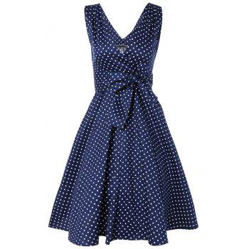 Bowknot Polka Dot Fit and Flare Dress