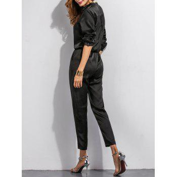 Buttoned High Waist Long Sleeves Jumpsuit - BLACK BLACK