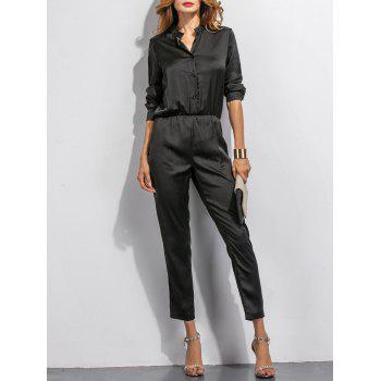 Buttoned High Waist Long Sleeves Jumpsuit