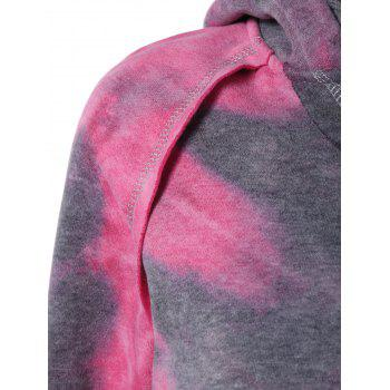 Ombre Topstitched Pocket Design Hoodie - ROSE RED ROSE RED
