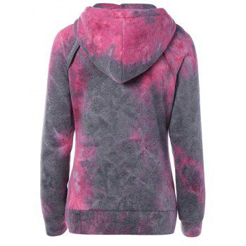 Ombre Topstitched Pocket Design Hoodie - ROSE RED M