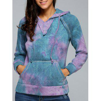 Ombre Topstitched Pocket Design Hoodie - PURPLE PURPLE