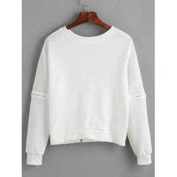 Letter Applique Zipper Design Pullover Sweatshirt - WHITE WHITE