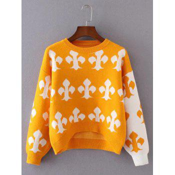 Knitted Patterned Jacquard Spliced Sweater