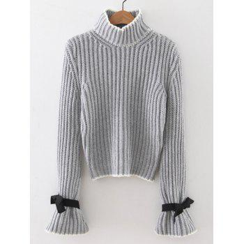 Ribbed Bell Sleeves Bowknot Sweater - LIGHT GRAY ONE SIZE