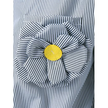 Appliques Striped Tie Shirt - STRIPE STRIPE