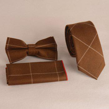 A Set of Chessboard Gingham Pattern Tie Pocket Square Bow Tie