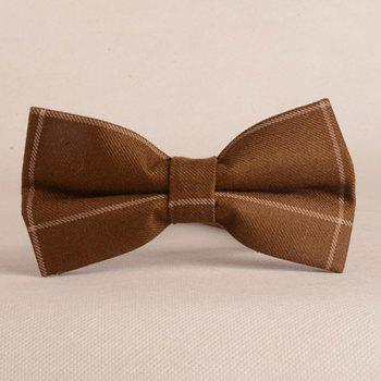 A Set of Chessboard Gingham Pattern Tie Pocket Square Bow Tie - BROWN