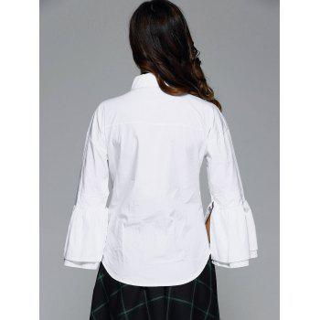 Lantern Sleeve Work Shirt - WHITE WHITE