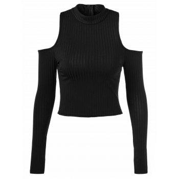Back Zipper Cut Out Pullover Sweater